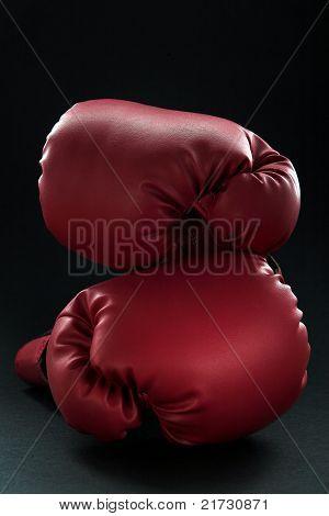 Red Boxing Gloves On Black
