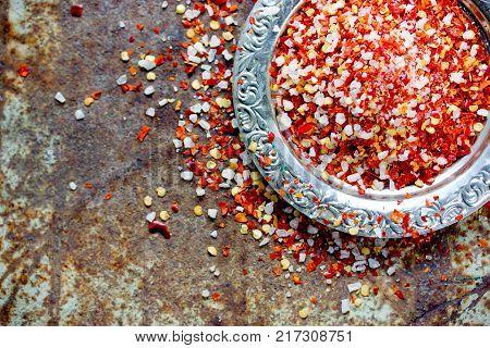 Red chili pepper salt seasoning mix top view