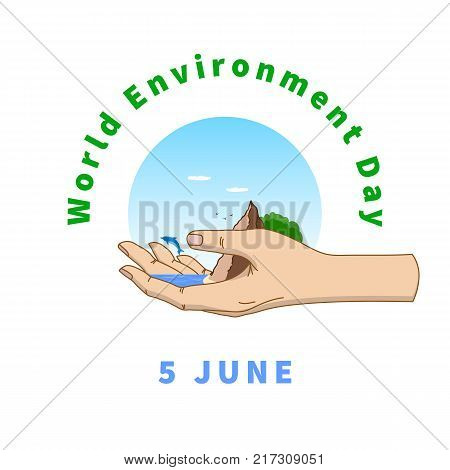World Environment Day greeting card. Template for your design - vector illustration. The ecosystem of the planet is in our hands