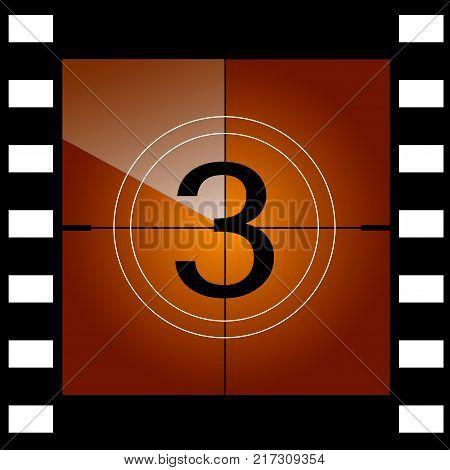 Old film movie countdown frame. Vector illustration.