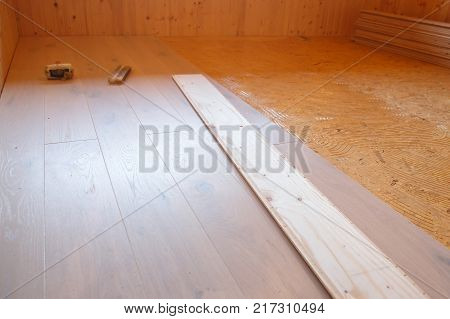 Laying of new parquet flooring in progress adhesive primer spread on old floor. Professional work home improvement and renovation carpentry and parquetry concept.