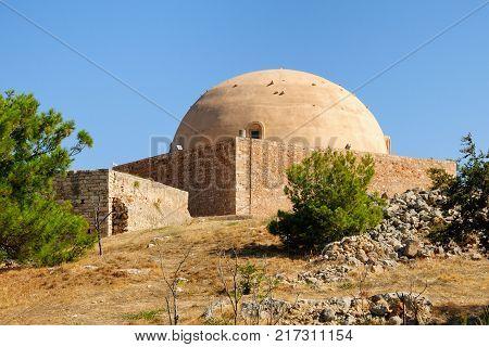 Sultan Ibrahim Mosque in citadel of Fortezza Rethymno Crete Greece