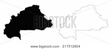 Burkina Faso outline map - detailed isolated vector country border contour maps of Burkina Faso on white background