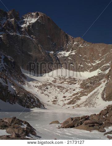 Longs Peak From Chasm Lake In Winter