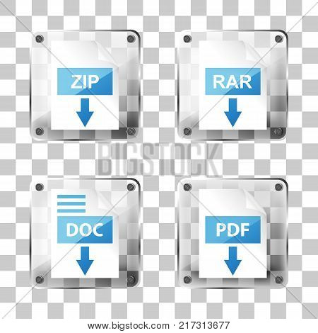 set of glass rar, zip, doc and pdf download icons on a squared background