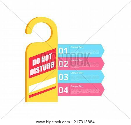 Do not disturb hotel sign of yellow color and white titles, numbers and information represented on vector illustration isolated on white