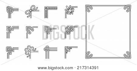 Set of ornamental corners in different style, vintage decorative elements, floral and geometric decor on borders vector illustrations set on white