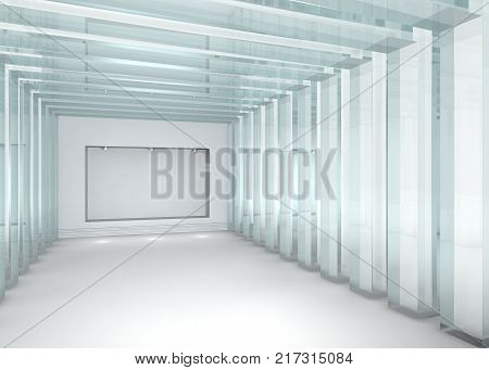 3d rendered glass gallery with niche with spotlights for exhibit