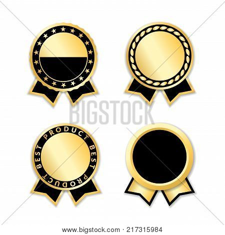 Award ribbon isolated set. Black and gold design for medal label badge certificate. Symbol of best sale price quality guarantee achievement. Ribbon award decoration Vector illustration