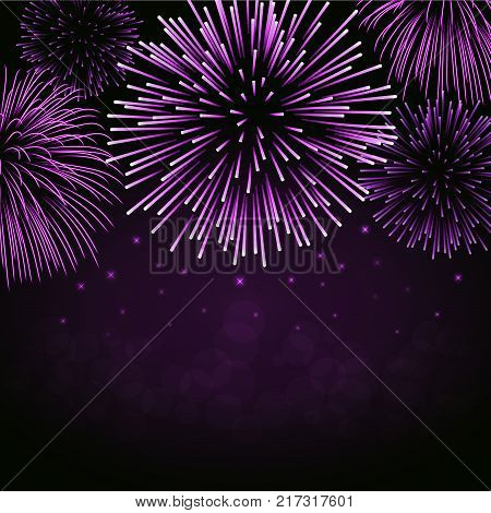 Firework sparkle background card. Beautiful bright fireworks isolated on black background. Light pink decoration fireworks for Christmas card New Year celebration Vector illustration