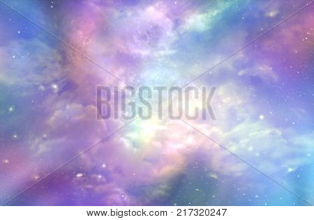 This must be what the Heavens Above looks like  -  Multicolored ethereal cosmic sky scape with fluffy clouds, stars, nebulas, and bright light depicting Heaven