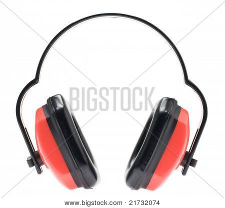 Red earmuffs for hearing protection