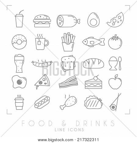 Trendy simple thin line food icons big set. Fast food and breakfast national and healthy food symbols.