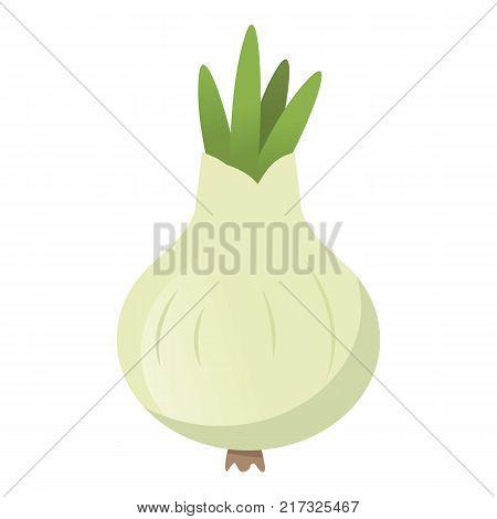 Onion white icon. Cartoon illustration of onion white vector icon for web