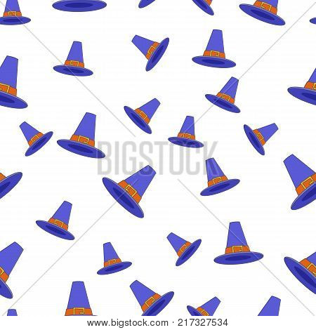 Blue pilgrim hat seamless pattern. Thanksgiving cockel hat with buckle flat vector on white background. American settles traditional headwear illustration for for wrapping paper, prints on fabric
