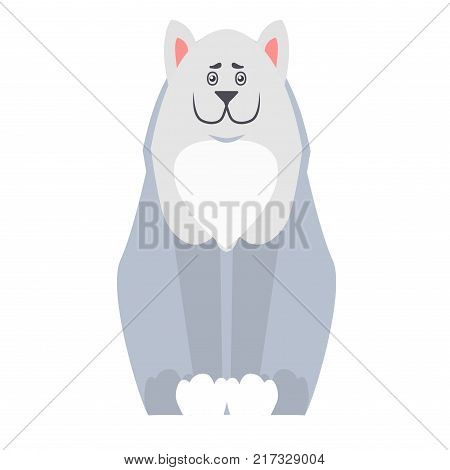Happy cute white dog sitting with smiling muzzle flat vector isolated on white background. Lovely purebred pet illustration for animal friends and companions concepts, shop ad