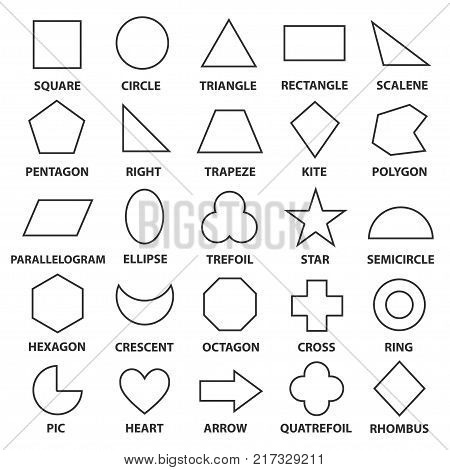 Basic geometric shapes. Advance mathematical concepts for algebra and geometry, representation of a square, circle, triangle, diamond, oval. Vector line art illustration isolated on white background