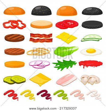 Burger ingredients set. Delicious hamburger recipe step-by-step with main ingredients, minced fried or grilled, vegetables, bun. Vector flat style cartoon illustration isolated on white background