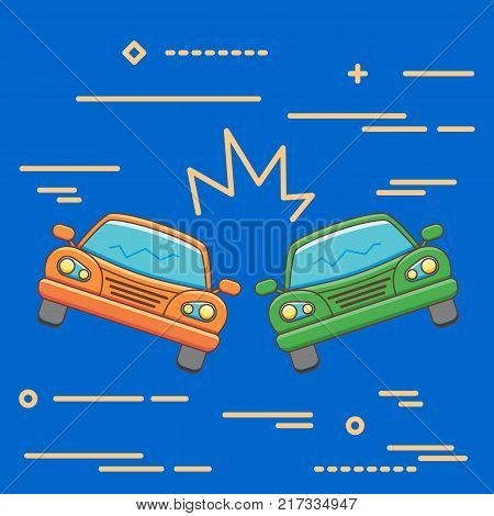 Flat Line design graphic image concept of car crash vector illustration, two automobiles collision, auto accident scene isolated on blue background
