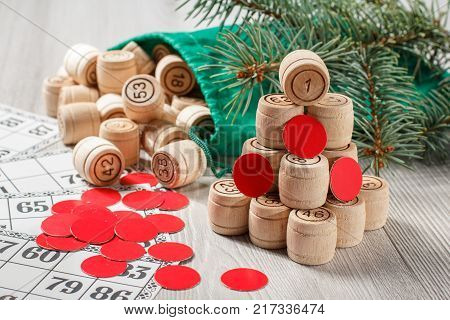 Wooden Lotto Barrels With Bag, Game Cards And Red Chips For A Game In Lotto, Christmas Fir Tree Bran