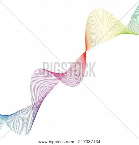 Abstract Smooth Curved Lines Design Element Technological Background With A Line In The Form Of A Wa
