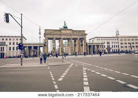 BERLIN GERMANY - DECEMBER 062017: Berlin Brandenburg Gate (Brandenburger Tor) Berlin Germany