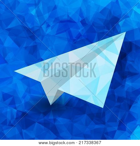 paper airplane on a blue abstract geometric background