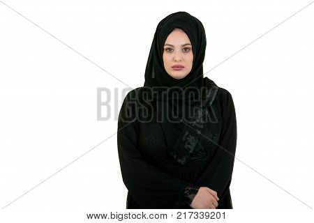 Young Woman Wearing Traditional Arabic Clothing hijab.