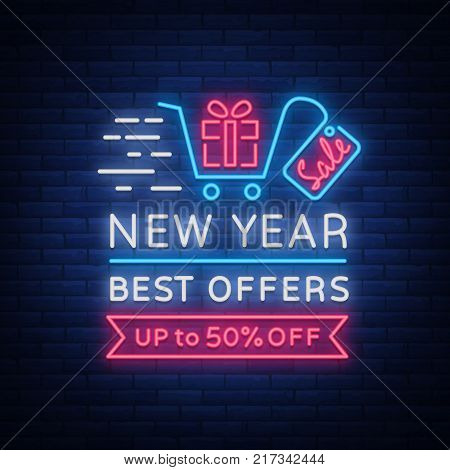 New Year Sale Card in Neon Style. Neon sign on New Year discounts. Happy New Year. Flyer, discount advertising, bright banner, flashing night sign, neon text. Vector illustration.