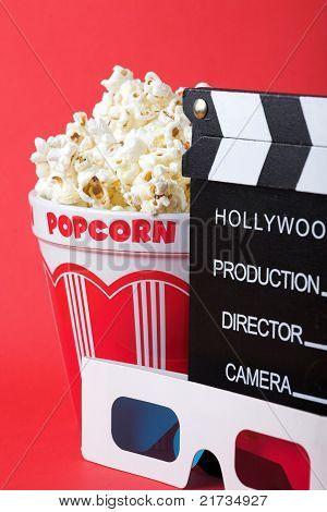 Popcorn, 3D Glasses & Clapperboard