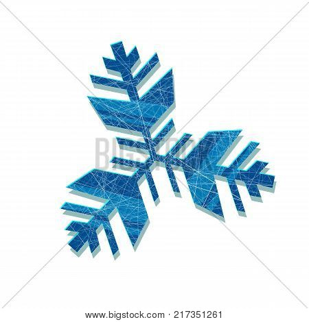 Vector snowflake. Abstract snowflake of geometric shapes. Sign of the blue snowflakes. Christmas. New Year card illustration. Holiday design. Winter. Backdrop. White background with blue snowflakes.