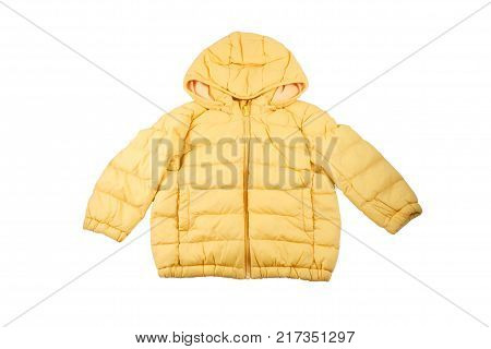 Yellow color Toddler's winter jacket with hood isolated on white with clipping path