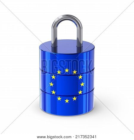 European Union Data Protection Database Padlock with EU Flag. 3D illustration