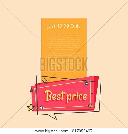 Just 19.99 only special offer sale advertisement promotional poster discounts info about reducement of prices for period of time vector illustration