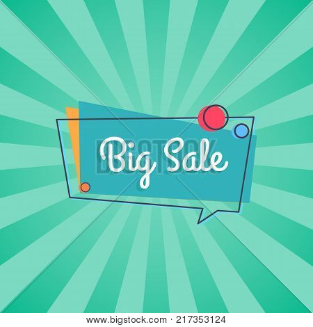 Big sale inscription in square speech bubble with circles on blue backdrop vector isolated on green background with rays. Best offer discounts