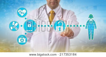 Unrecognizable male physician is accessing electronic medical records of a female patient via secure wireless network. Health IT concept for data accessibility mobility and virtualization security.