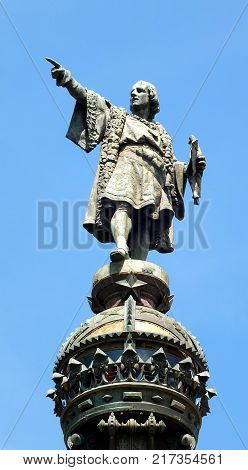 Detail of the Columbus Monument,  a 60 m tall monument to Christopher Columbus at the lower end of La Rambla, Barcelona, Catalonia, Spain