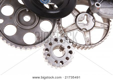 real used car water pump with several gears isolated over white background
