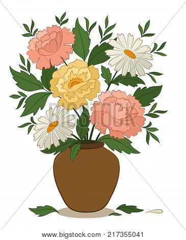 Bouquet Peonies and Chamomile Flowers and Green Leaves in a Brown Clay Vase Isolated on White Background. Vector