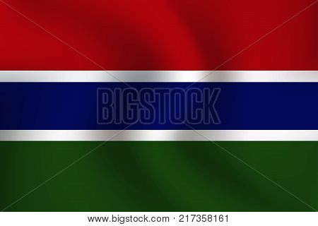 Flag of Gambia with a little Waving Shading & Flag Colors separated layers - Vector Illustration