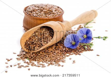 Flax seeds in the wooden scoop and bowl beauty flowers isolated on white background.