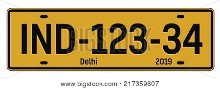 Delhi car plate, realistic looking registration plate design for city souvenir.