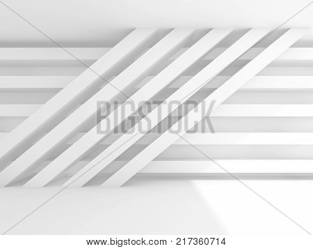Abstract Empty Interior Background. White Wall