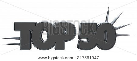 top 50 symbol with prickles on white background - 3d rendering