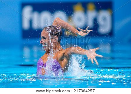 BARCELONA, SPAIN - JULY, 24: Jenna Randall of Great Britain during a Solo Synchronised Swimming event of World Championship BCN2013 on July 24, 2013 in Barcelona Spain
