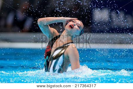BARCELONA, SPAIN - JULY, 24: Xuechen Huang of China during a Solo Synchronised Swimming event of World Championship BCN2013 on July 24, 2013 in Barcelona Spain