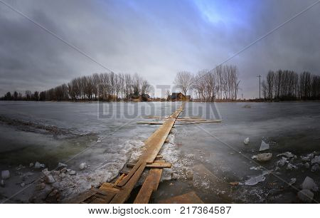 Winter river wooden road extreme travel Astrakhan