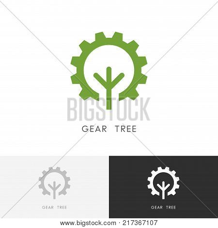 Gear wheel and tree logo - green plant and pinion symbol. Ecology, nature and industry vector icon.