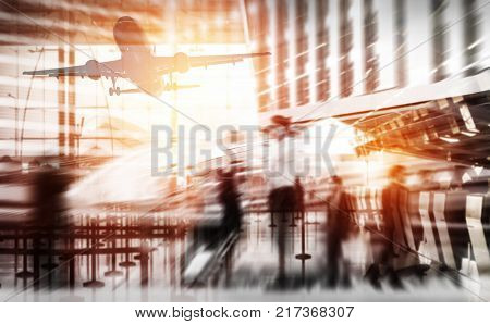 Double exposure silhouettes of passenger walking at airport business travel concept abstract background with peopleBusiness airline concept