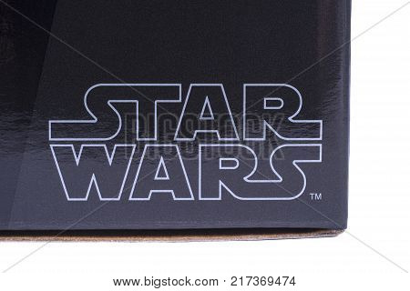 LONDON UK - OCTOBER 10TH 2017: A close-up of the Star Wars logo on a product item the Star Wars franchise is owned by Disney on 10th October 2017.